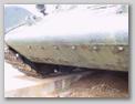 Гужоны и сварочный шов в месте стыка нижнего лобового листа и носовой балки